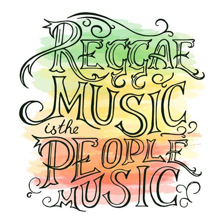 reggae: vecteur main imprimable dessiné reggae lettring sur fond d'aquarelle. Peut être imprimé sur la tasse, un oreiller, t-shirt.