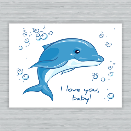 dorsal: vector hand drawn printable illustration with cartoon dolphin and bubbles. Can be printed on t-shirts, pillow, poster, mug, bag, card.