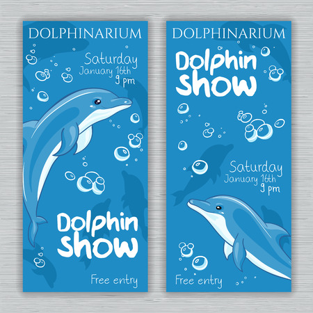 leaping: vector set of printable dolphinarium banner with hand drawn cartoon dolphins and text. Can be used as a ticket design.