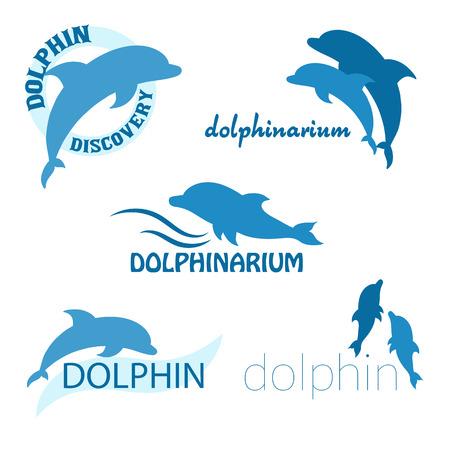 dolphin: vecteur, ensemble, de la conception du delphinarium de logo avec les dauphins et étiquette. Illustration