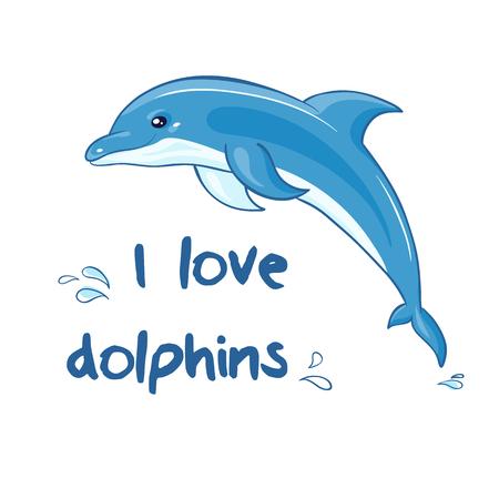 vector dibujado a mano ilustración imprimible con delfín de salto de dibujos animados y las salpicaduras. Puede ser impreso en las camisetas, la almohada, el cartel, la taza, la bolsa.