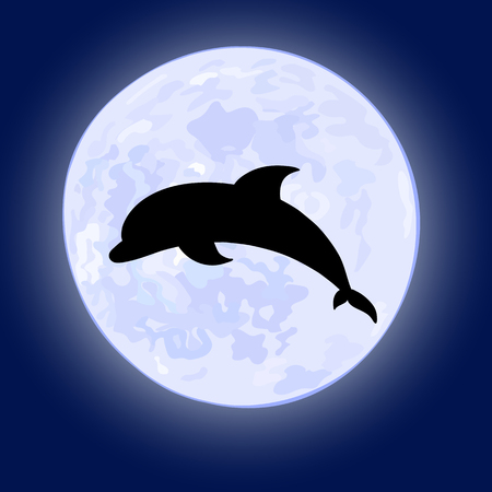 dorsal: vector illusration of jumping dolphin on night sky with full moon on the background. Illustration