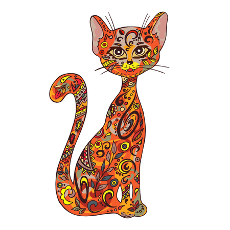painting and stylized: vector hand drawn printable illustration of sitting zentangle cat. Can be printed on mug, pillow, t-shirt.
