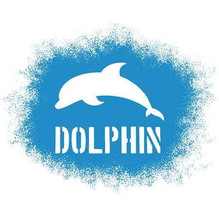 dauphin: vecteur imprimable pulv�ris� illustration avec saut de dauphins et de l'�tiquette. Peut �tre imprim� sur des T-shirts, oreiller, affiche, tasse, sac.