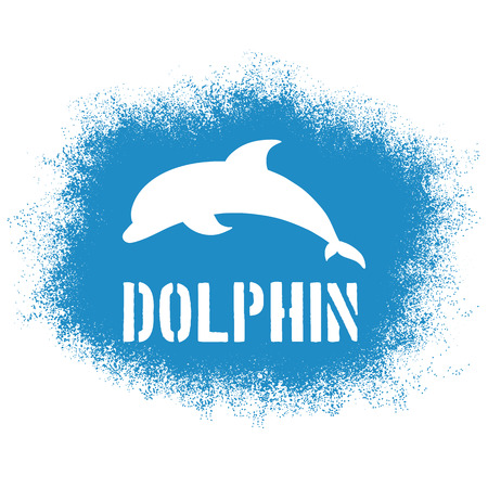 delfin: Wektor wydruku rozpylany ilustracji z skoki delfinów i etykiety. Mogą być drukowane na koszulkach, poduszki, plakat, kubek, torba. Ilustracja