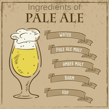 ale: Vector vintage illustration of card with recipe of pale ale. Ingredients are written on ribbons.