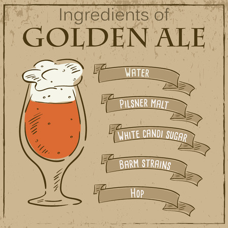 ale: Vector vintage illustration of card with recipe of golden ale. Ingredients are written on ribbons.