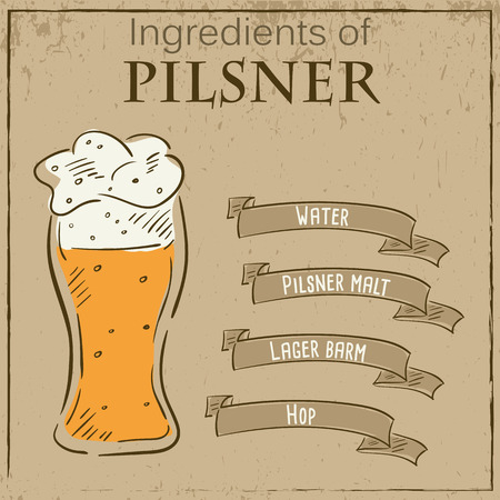 pilsner beer: Vector vintage illustration of card with recipe of pilsner beer. Ingredients are written on ribbons.