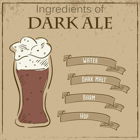 ale: Vector vintage illustration of card with recipe of dark ale. Ingredients are written on ribbons.