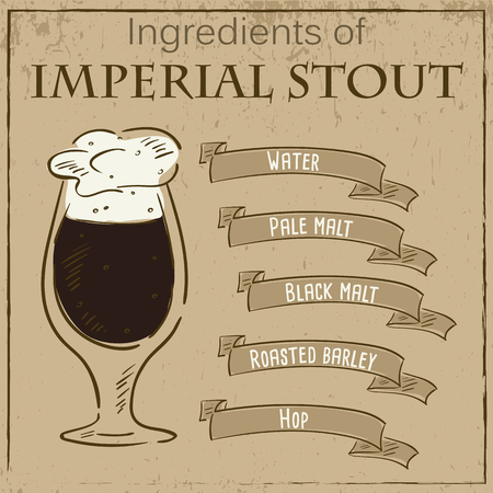 stout: Vector vintage illustration of card with recipe of imperial stout. Ingredients are written on ribbons. Illustration