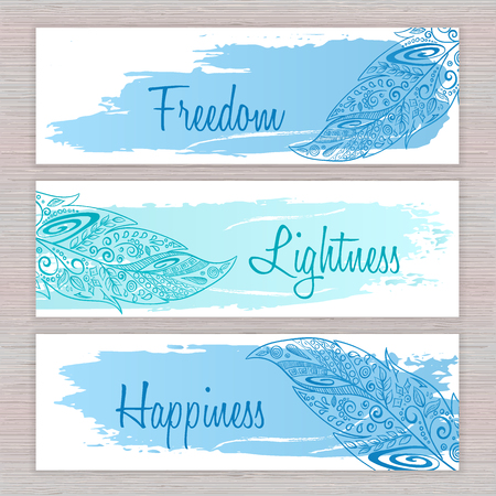 american dream: vector printable hippie banners with hand drawn zentangle feathers with artistic brush stroke  and labels .