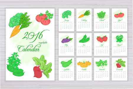 splash page: Vector wall calendar with pages for each month with different vegetables.