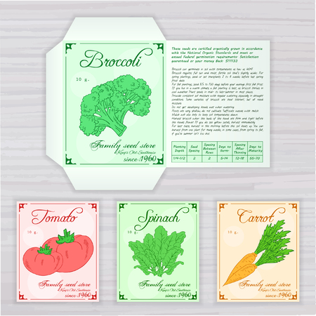 germinate: vector printable template of seed packet with image, name and description of vegetables on wooden backdrop. Contains broccoli, tomato, spinach and carrot.