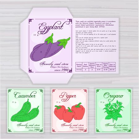 germinate: vector printable template of seed packet with image, name and description of vegetables on wooden backdrop. Contains eggplant, cucumber, pepper and oregano.
