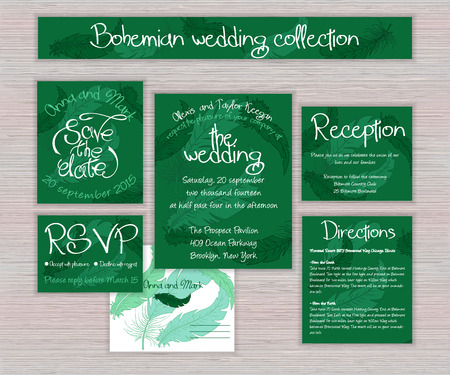 indian ink: vector emerald printable wedding typography set of cards with hand drawn feather on wooden desk.