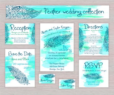 손으로 카드의 벡터 인쇄 웨딩 타이포그래피 세트는 나무 책상에 수채화 배경에 zentangle 깃털을 그려. 일러스트