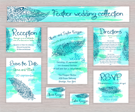 boho: vector printable wedding typography set of cards with hand drawn zentangle feather on watercolor background on wooden desk. Illustration