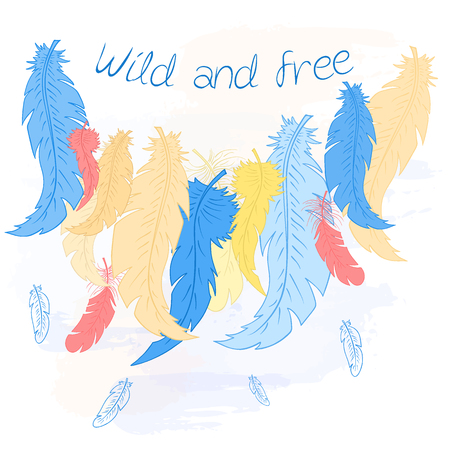 softly: vector printable illustration with feather line on watercolor background and label - wild and free. Can be printed on t-shirt, diary, pillow or poster Illustration