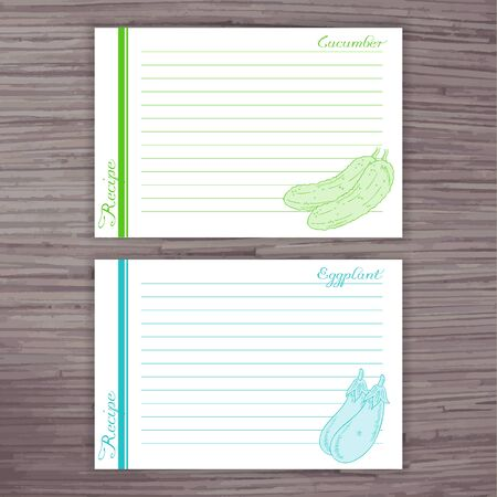 recipe card: vector lined recipe card with vegetables on wooden background.  Cucumber, eggplant.