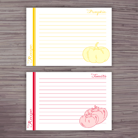 pumpkin tomato: vector lined recipe card with vegetables on wooden background. Pumpkin, tomato. Illustration
