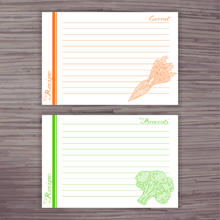 recipe card: vector lined recipe card with vegetables on wooden background.  Carrot, broccoli. Illustration
