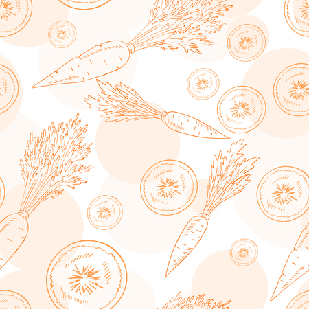 vector seamless pattern with carrot and its slice.