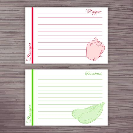 recipe card: vector lined recipe card with vegetables on wooden background. Pepper, zucchini.