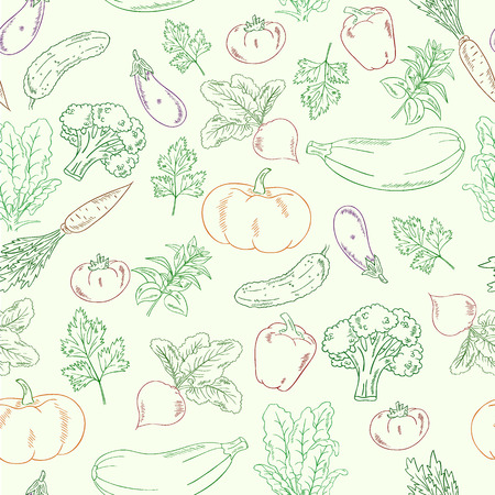 vector hand drawn vegetables seamless pattern.