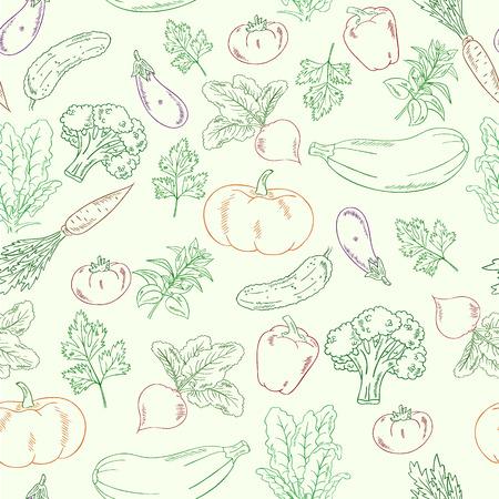 Vector handgetekende groenten naadloze patroon. Stock Illustratie