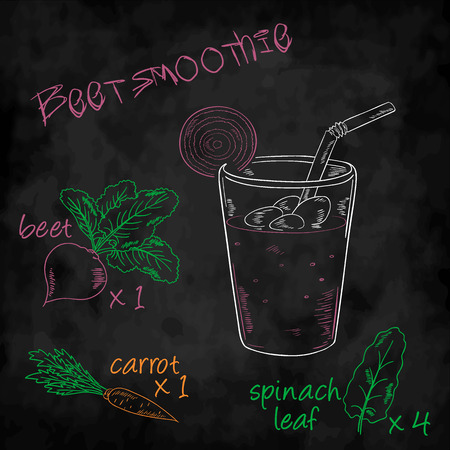 spinach: vector vegetables smoothie with ingredients list. Beet, carrot and spinach.