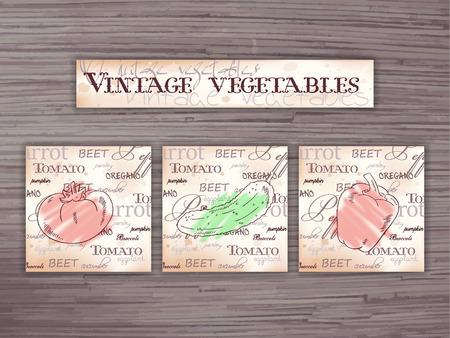 english cucumber: vintage hand drawn vector set of vegetables flashcards on wooden backdrop.Tomato, cucumber, pepper.