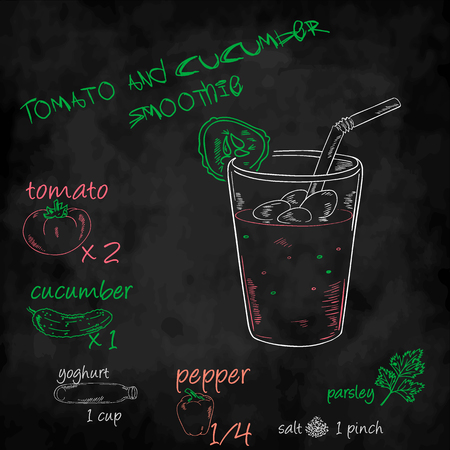 salt pepper: vector vegetables smoothie with ingredients list. Tomato, cucumber, yogurt and pepper Illustration