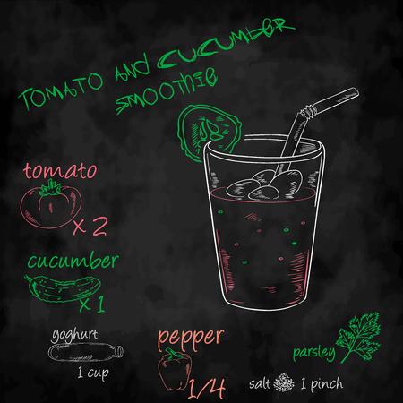 sal: vector veh�culos Smoothie con la lista de ingredientes. Tomate, pepino, yogur y pimienta