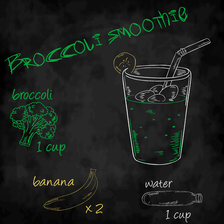 ingredients: vector vegetables smoothie with ingredients list. Broccoli, banana and water. Illustration