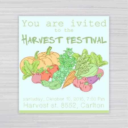 harvest festival: vector  illustration of  invitation for harvest festival with vegetables: pumpkin, tomato, beet, carrot, cucumber, zucchini, pepper, eggplant, oregano on wooden backdrop.