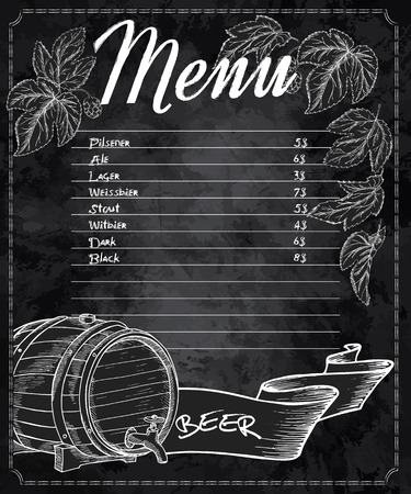 menu: vector hand drawn chalkboard beer menu with cones and leaves of hop and beer barrel. Illustration