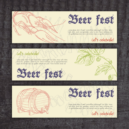 fest: vector beer fest banners with hand drawn crayfish, hops and barrel.