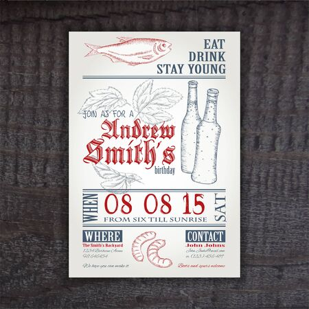 ecard: vector hand drawn vintage invitation on birthday with hop, stockfish, sausage and bottle on wooden desk .
