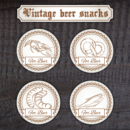 stockfish: vector illustration of set snacks logo. Contains crayfish, pretzel, sausage and stockfish.