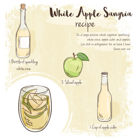 sangria: vector hand drawn illustration of white apple sangria recipe with list of ingredients.