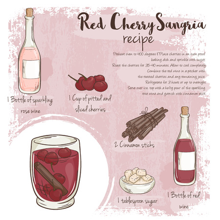 sangria: vector hand drawn illustration of red cherry sangria recipe with list of ingredients.