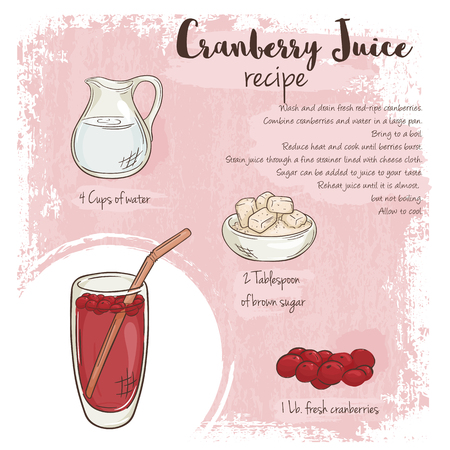 cranberry illustration: vector hand drawn illustration of cranberry juice recipe with list of ingredients.