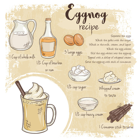 eggnog: vector hand drawn illustration of eggnog recipe with list of ingredients.