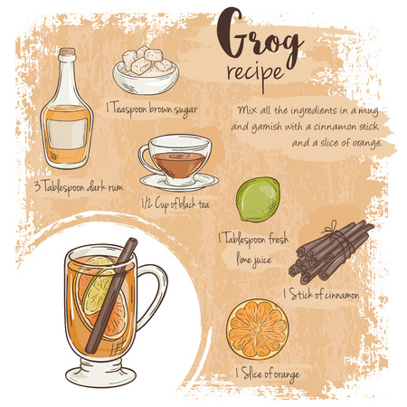 grog: vector hand drawn illustration of grog recipe with list of ingredients.
