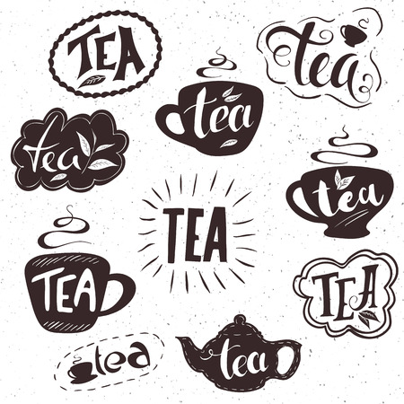 oolong: vector hand drawn set of lettering tea badge, labels, signs. Monochrome design with stylish elements