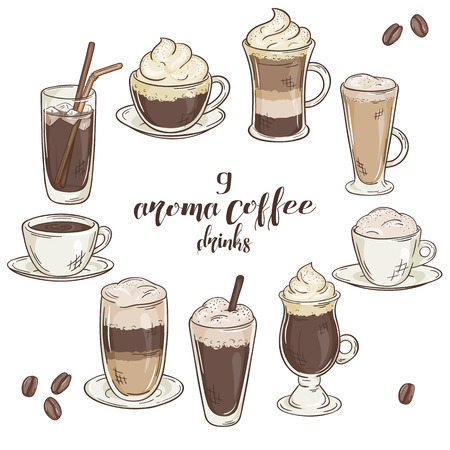 beautiful eating: vector printable illustration with set of isolated cup of coffee drinks. Contains coffee, latte, mocha, cappuccino and others.