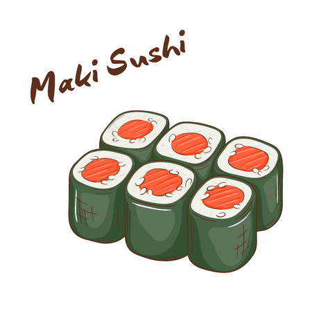healthy cooking: vector illustration of isolated cartoon hand drawn fast food. Maki sushi.