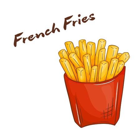 vector illustratie van geïsoleerde cartoon hand getekende fast food. Franse frietjes. Vector Illustratie