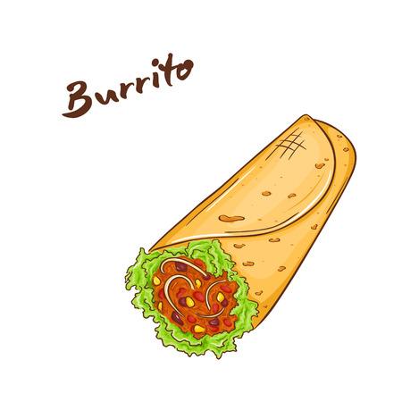 vector illustration of isolated cartoon hand drawn fast food. burrito.