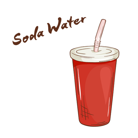 vector illustration of an isolated cartoon hand drawn fast food. Soda water closed paper cup with a straw